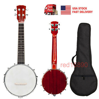 US Professional Exquisite 4-string Banjo Wood&Metal Musical instrument with bag
