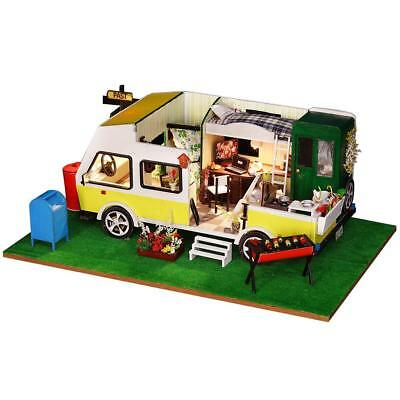 Car DIY Wooden Doll House Miniature Kit Ancient Architecture Dollhouse Toy Gifts