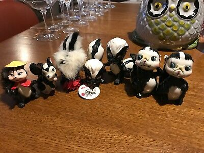 Collection Of 1950's Vintage Kreiss & Company Porcelain Skunk Figurines