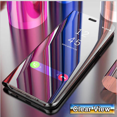 For Samsung Galaxy A6 A7 A8+ 2018 Clear Mirror Leather Flip Case Stand Cover