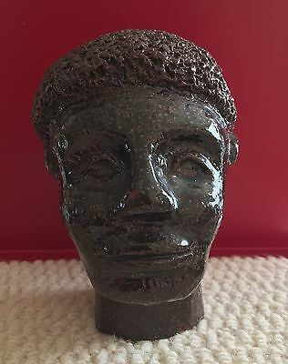 Antique Sewer Tile African American Male Bust - Redware Pottery - Signed/Dated