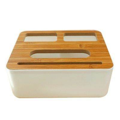 3 Styles Removable Plastic Tissue Box With Wooden Cover Phone Holder Napkin O8K7