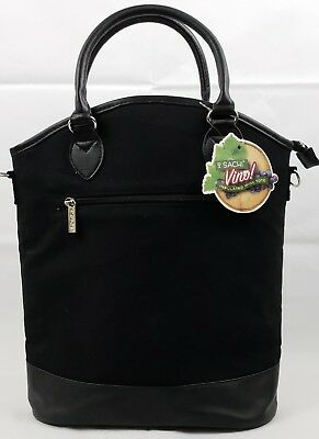Sachi Insulated 3-Bottle Wine Tote Lunch Bag Purse Sack, Black, NWT