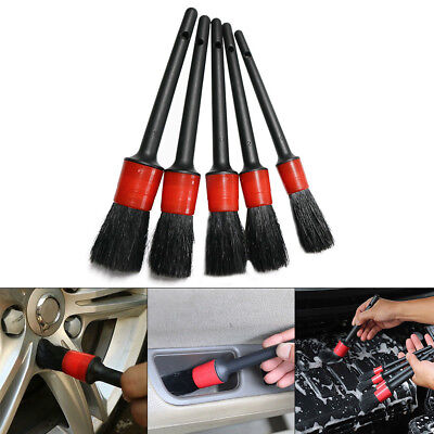 5 Pieces Natural Boar Hair Car Automotive Wheels Detailing Cleaning Brush Kit UK
