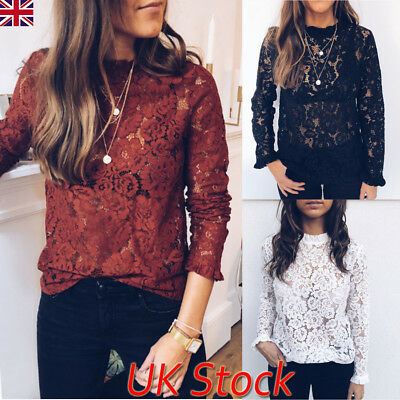 UK Womens Ladies Long Sleeve Lace Autumn Casual Loose Tops Blouse Loose T-Shirt