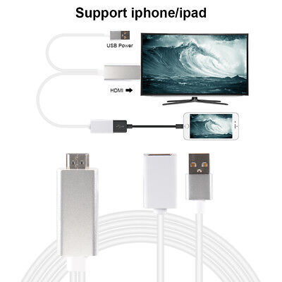 USB MHL To HDMI 1080P TV Converter Cable HD for iPhone X 8 7 6s iPad Pro AC1456
