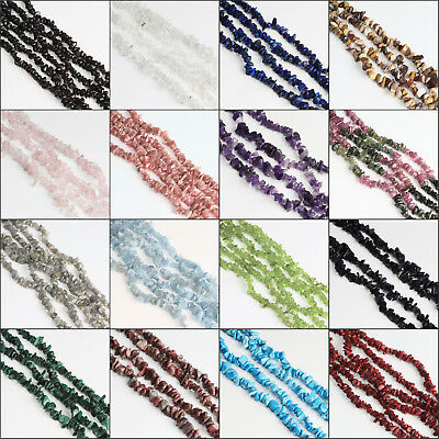 "Freeform Natural Gemstones Chips Beads for Jewelry Making 34"" / 15"" Bulk in Lots"