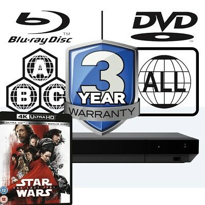 Sony UBP-X700 All Zone Code Free MultiRegion 4K Player & Star Wars The Last Jedi