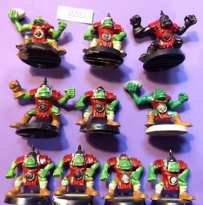 Orc Players x10 - Blood Bowl - 3rd Edition - Plastic - Painted - Orcland Raiders