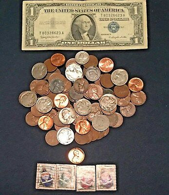 Starter Collection Silver Certificate with Mix Lot of 80 Old U.S.Coins + Bonus