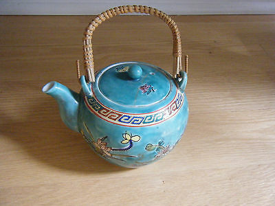 Vtg Turquoise Hand Painted Japanese Teapot W/ Bamboo Handle & Flowers, Stamped