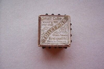 Antique Vtg Victorian Mourning  Black Glass Toilet Pins TINY CUBE