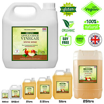 Organic Raw Pure Apple Cider Vinegar With Mother All Sizes Fast & Free Delivery