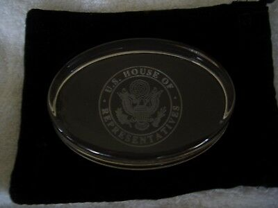 US House of Representatives Etched Clear Glass Paper Weight and Pouch