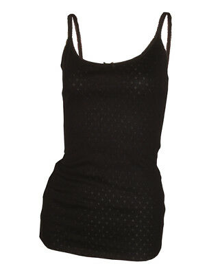Ladies Soft Thermal Black Sleeveless Camisole Vest Top Sizes 10-12-14-16-18-20