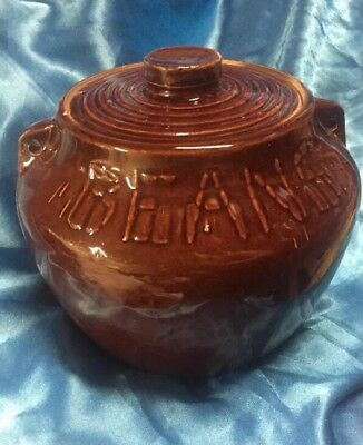 Old Vintage Stoneware Pottery  Bean Pot w Lid Brown ~