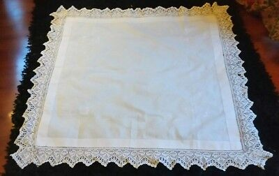 Vintage linen Embroidered and Crochet edged Table Cloth