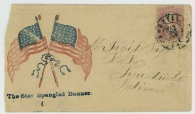 Mr Fancy Cancel 65 CIVIL WAR PATRIOTIC TWO FLAGS THE STAR SPANGLED BANNER NASHVI