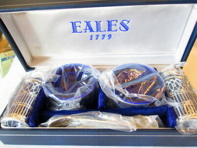 Eales 1779 Silverplate and Cobalt Glass Salt and Pepper Shakers Set, New/Box