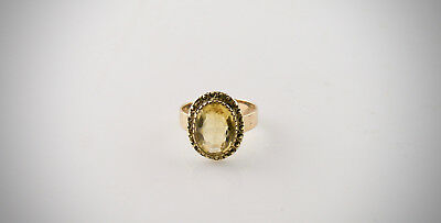Antique Victorian Edwardian Large Citrine 15K Gold Ring 4.2 grams ca. 1910/30s