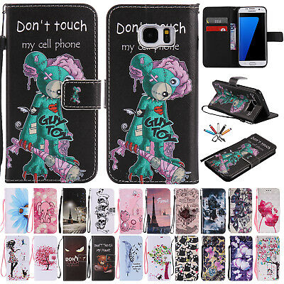 For Samsung Galaxy A7 A9 2018 Flip Leather Wallet Case Pattern Stand Phone Cover