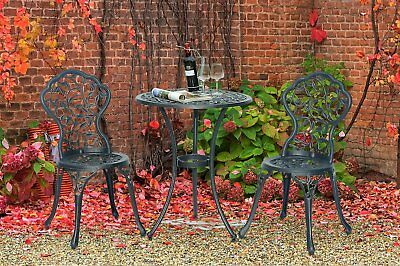 Black Bistro Set Outdoor Furniture Patio Table Chair Iron Aluminum Vintage Style