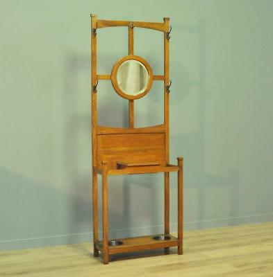 Attractive Small Antique Edwardian Oak Mirror Back Hall Coat Stick Stand