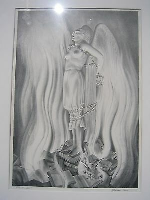 """Rockwell Kent Lithograph """"The Smith Act"""" Rare Signed 13 3/4x 9 5/8"""""""