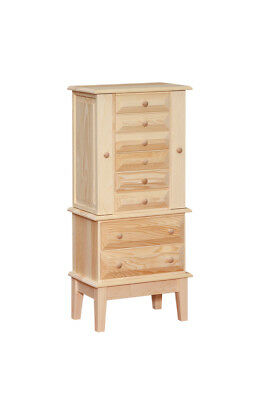 AMISH HANDMADE RUSITC - Shaker Jewelry Cabinet - UNFINISHED SOLID PINE