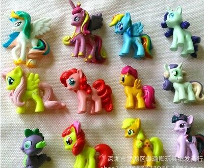 12Pcs Lot My Little Pony Doll Action Figures 3.5- 4.5 cm Tall Free Shipping