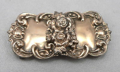 Antique STERLING Silver Vermeil BELT BUCKLE Victorian Edwardian 2 Piece Roses