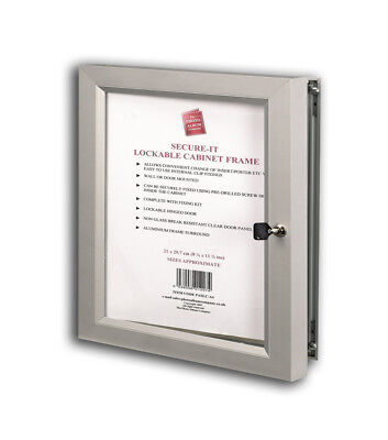 Secure Lockable Aluminium A3 Picture/Poster Advertising Frame W/Proof Rrp £59.99