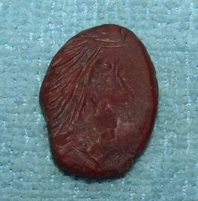 VERY RARE ANCIENT CELTIC GEM STONE STAMP SEAL ENGRAVED HEAD 1st CENTURY BC -D544