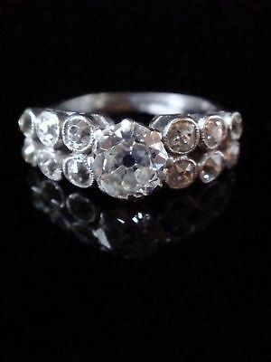 Exceptional Rare Art Deco Platinum Old Transitional Cut Diamond 1.50Ct Ring