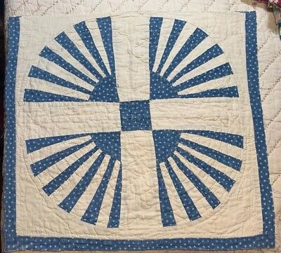 """ANTIQUE Cotton Quilted Quilt Block mid to late 1800's Fabrics 16"""""""