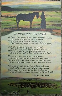Vintage Linen Postcard Cowboy's Prayer C.T. Art Colortone  Denver Co.