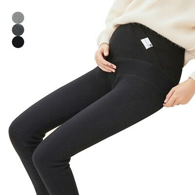 Maternity Leggings Thicken Warm Pregnancy Trousers High Waist Ankle Length Pants