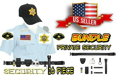 Private Security Guard Officer Cap Hat Patches Badge Nylon Belt Handcuff Bundle