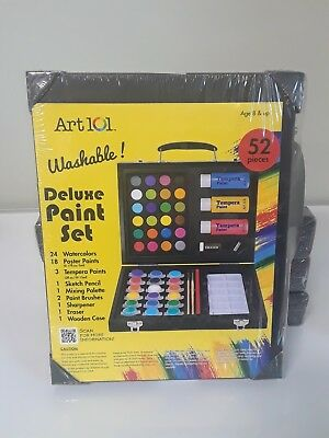 Washable 52 Piece Art Set With Wood Carrying Case New Art 101