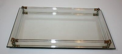"""Mirrored Vanity Tray with Glass Rails on Feet 14"""" x 9"""""""