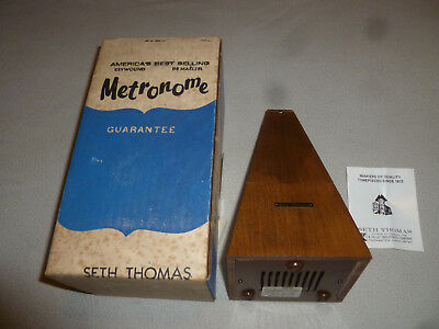 Vintage Boxed Seth Thomas Metronome General Time Corp Wooden Rare Antique Bell >