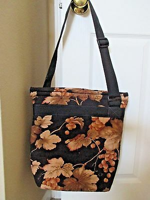 Chill and Go Wine Tote Bag in Black with Brown Grapes and Leaves