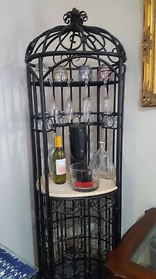 Metal Wine Home Bar and Storage Rack Floor Stand Alcohol Cabinet