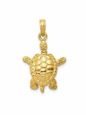 14k Yellow Gold Polished Turtle Charm Pendant - 16x25mm 3.33 Grams
