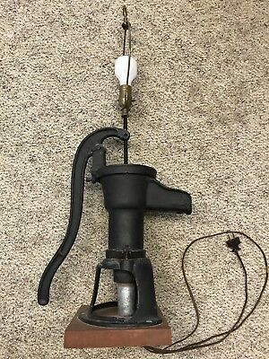 """Vintage/ Antique Cast Iron Water Pump Table Lamp - 32"""" Tall - Heavy"""