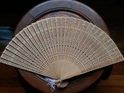 Vintage Pair of Chinese Hand FAN Carved PIERCED WOOD with ORIGINAL BOX Tassel