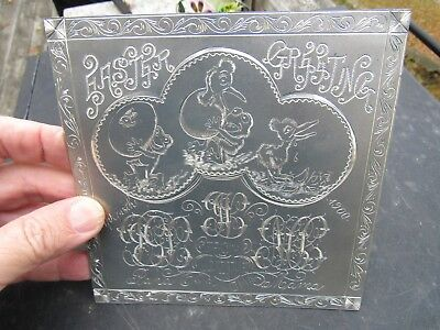 Antique Original 1900 Metal Engraved Easter Greeting Card Funny Scene Look !!