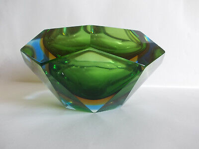 MURANO  VENEZIA VINTAGE 60's BLUE YELLOW GREEN FLAVIO POLI FACETED SOMMERSO