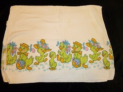 """Vtg Babycare Baby Care Cotton Flannel Receiving Blanket 26"""" X 34"""" Green Ducks"""