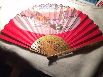ANTIQUE COLORFUL SPANISH BULL FIGHT SCENE HAND FAN W/ Painted Carved WOOD RIBS